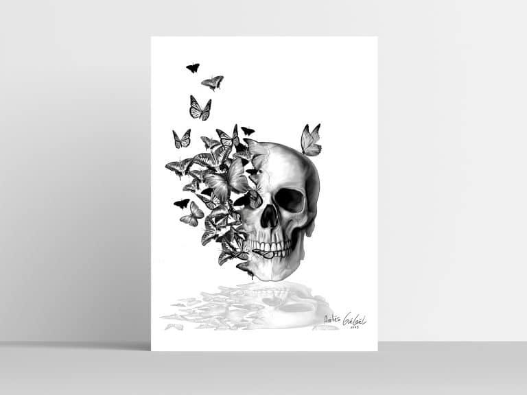 Tatouage illustration crâne papillon