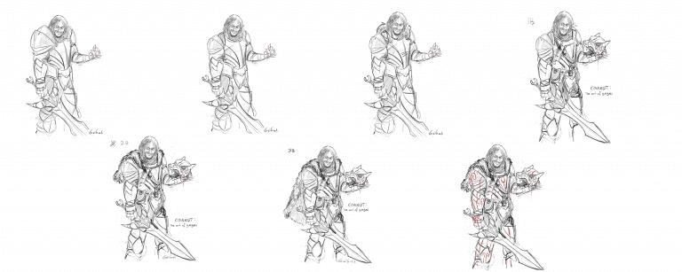 concept art armure d'un personnages pour un jeu de cartes